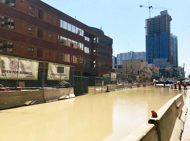 Eglinton re-opens after watermain break due to LRT work