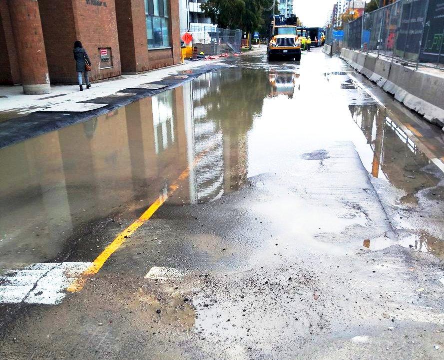 LRT work again causes floods, closure of Eglinton at MP