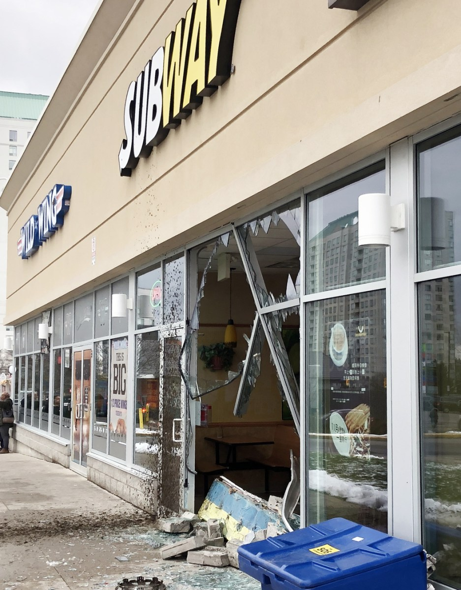 Medical case possible as car hits Subway in Scarborough