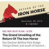 Nov 30, 2019 - Grand Unveiling of the Return of the Iron Horse