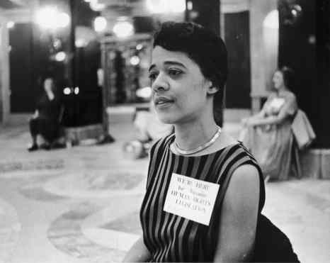 "Vel Phillips early in her career, wearing a sticker that reads, ""We're here for Wisconsin Human Rights Legislation."" Courtesy David Glisczinski, Wisconsin Public Television"