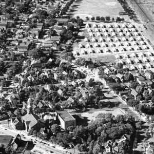 An aerial view of the post-WW II Quonset hut community in Bay View. PHOTO COURTESY JOHN EBERSOL