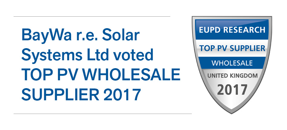 """BayWa r.e. yet again awarded """"TOP PV wholesale supplier"""" in the United Kingdom and Germany"""
