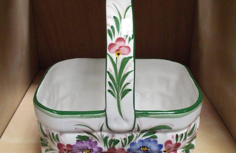 Floral Ceramic Basket – Portugal – #9508