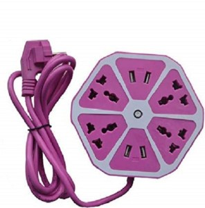 INVENTIA Hexagon Socket Extension Board Surge Protector with 4 USB 2.0 Amp