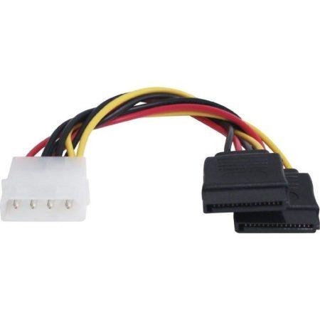 Adaptador de conversión Cable de alimentación Molex 4 pines a doble SATA de 2 he