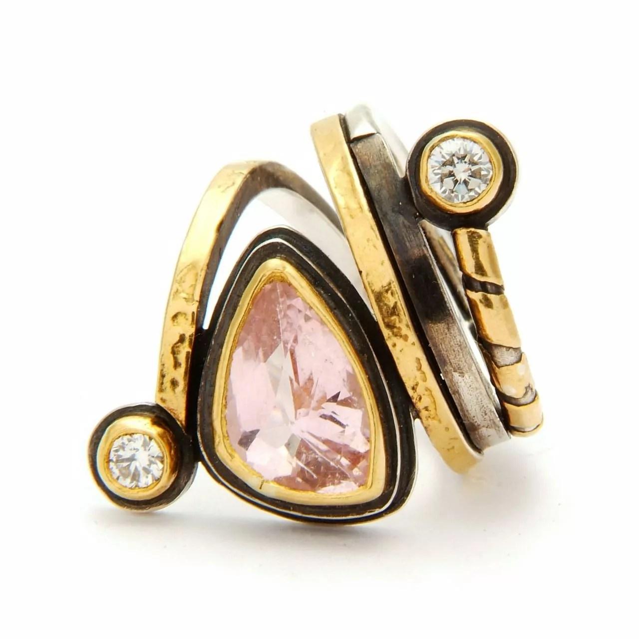 Pink Tourmaline and White Diamond Ring
