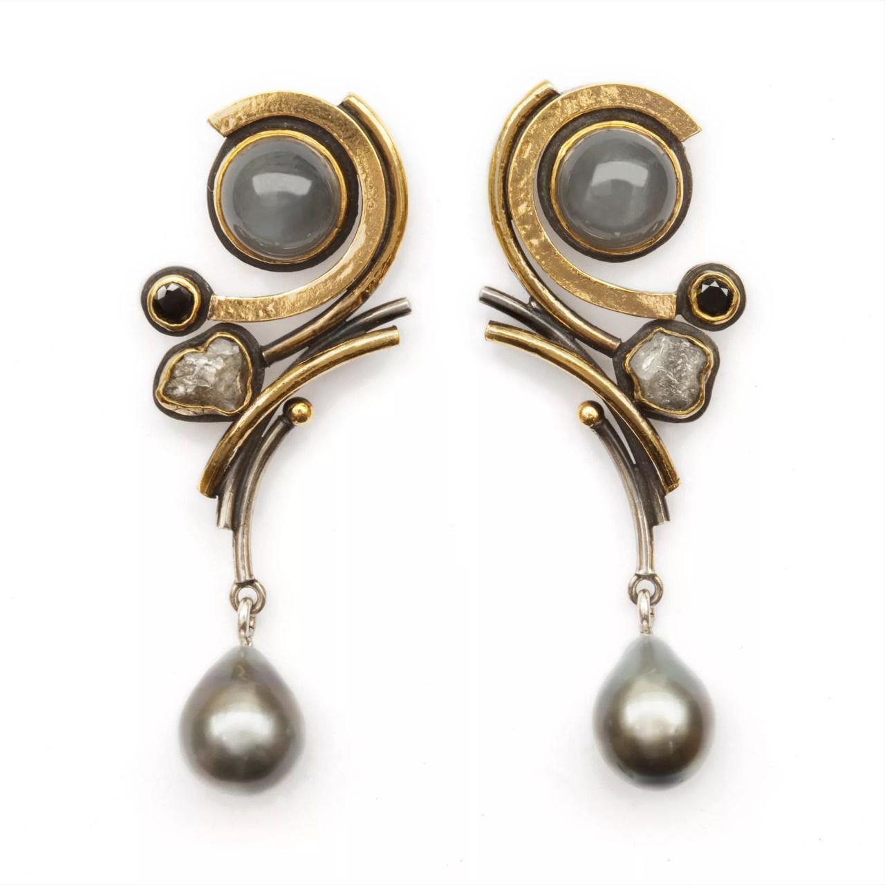 Earrings with Grey Moonstone, Diamonds and Tahitian Pearls