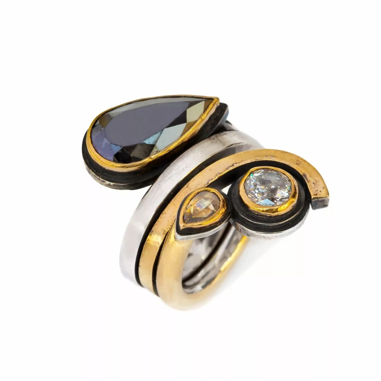 Ring with Black, Brown and White Diamonds