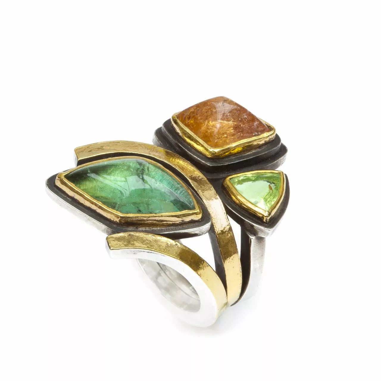 Ring with Tourmaline and Imperial Topaz