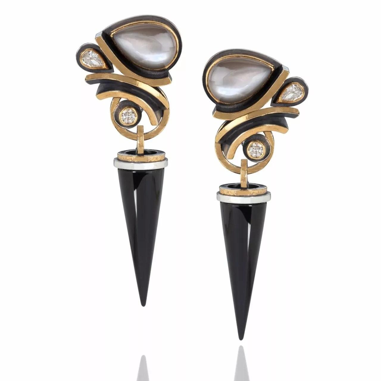 Moonstone, Diamond & Onyx Earrings