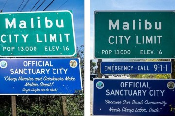 """Hilarious: Artists Prank Malibu With """"Official Sanctuary City"""" Signs"""