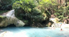 The last waterfall on our hike where the water was so blue we couldn't resist going in!