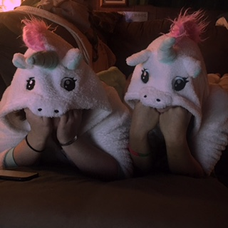 Maggie and I as Unicorns