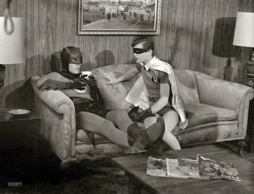 Actors Adam West and Burt Ward on the set of the movie Batman (3)