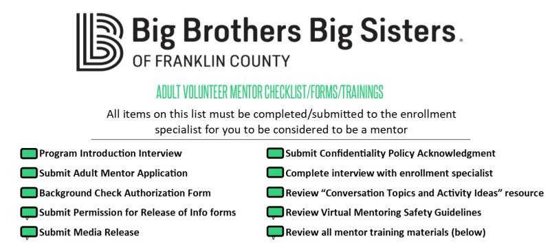 Adult Volunteer Checklist
