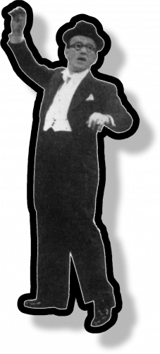 A man in a tuxedo and a homburg hat