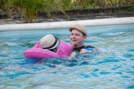 Christian & Eloise in the pool.