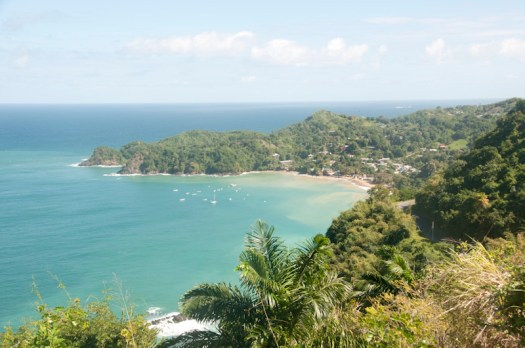 A view from above of Castara, Tobago.