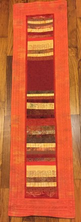"SOLD! #2:Pieced and quilted table runner in fall colors. 13"" x 48"""