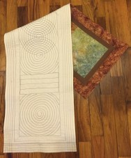 "#1:Pieced and quilted table runner. 13"" x 44"""