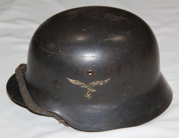 L002. WWII GERMAN LUFTWAFFE M35 DOUBLE DECAL COMBAT HELMET W/ CHIN STRAP
