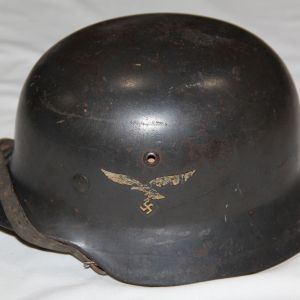 L002. WWII GERMAN LUFTWAFFE M35 DOUBLE DECAL COMBAT HELMET W/ CHIN STRAP