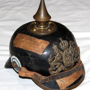 B001. WWI BAVARIAN EM/NCO TIN BODY SPIKE HELMET W/ MAILING LABELS