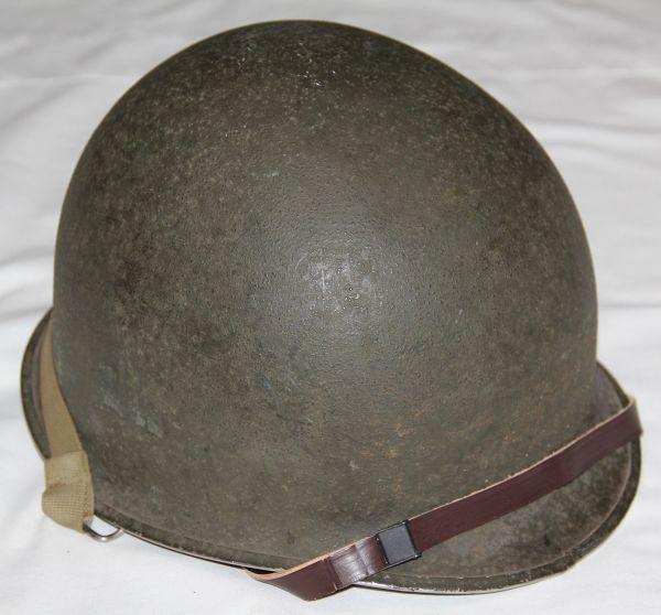 C003. WWII FRONT SEAM, SWIVEL BAIL M1 HELMET W/ COMPLETE IMP LINER