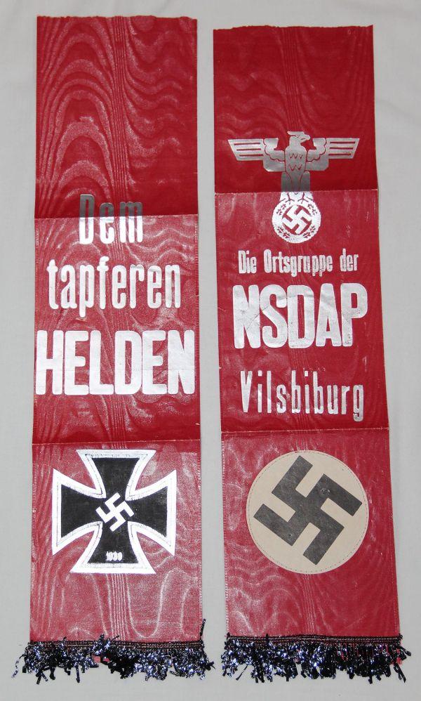 R001. WWII GERMAN NSDAP PAPER FUNERAL SASH FROM VILSBIBURG