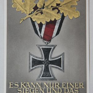 R010. WWII GERMAN IRON CROSS COLOR POSTCARD, UNUSED W/ POSTAGE