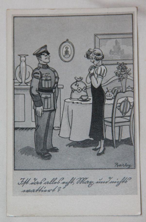 R014. WWII GERMAN UNUSED COMIC POSTCARD W/ WOMAN & SOLDIER