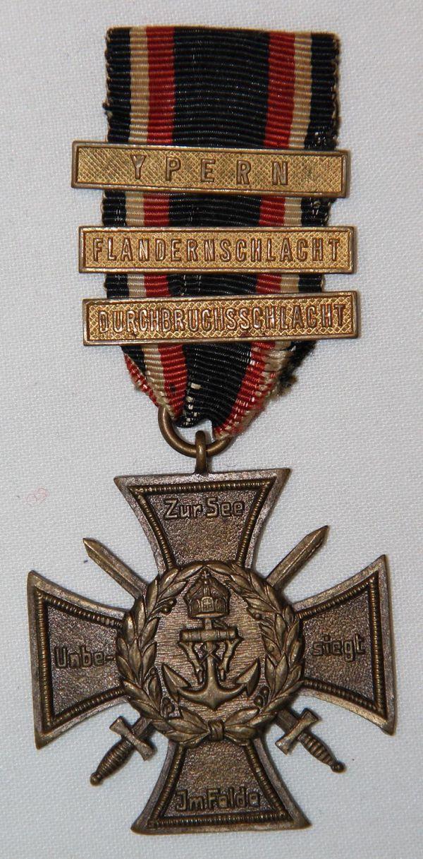 B019. WWI GERMAN NAVY-MARINE FLANDERS CROSS MEDAL W/ 3 BARS