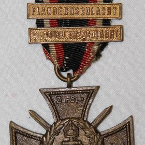 B019. WWI GERMAN NAVY-MARINE FLANDERS CROSS MEDAL W/ 3 BARS