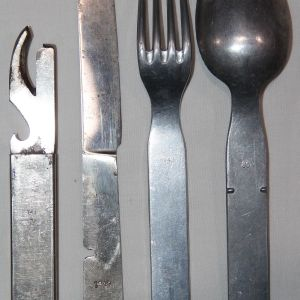 M071. WWII GERMAN 1943 DATED 4 PIECE EATING UTENSIL SET