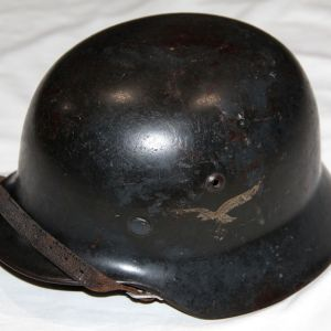 L005. WWII GERMAN LUFTWAFFE DOUBLE DECAL M35 COMBAT HELMET W/ CHINSTRAP