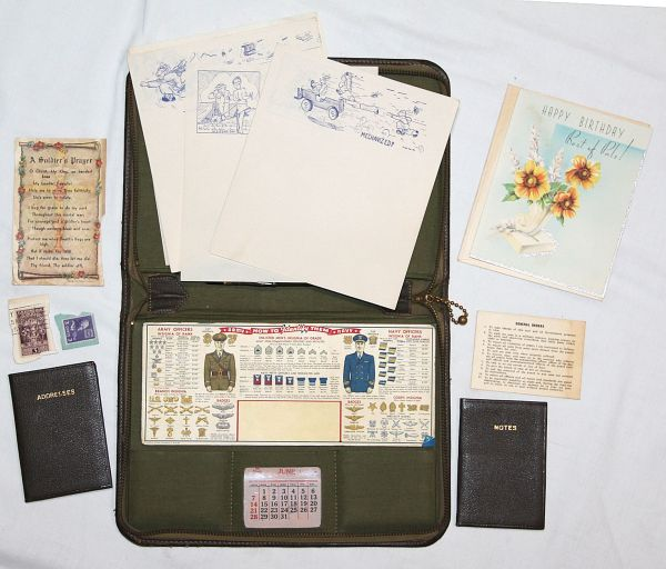 E033. COOL WWII G.I. WRITING KIT WITH CONTENTS