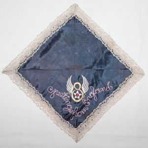 I013. WWII HOME FRONT BRITISH MADE 8TH AAF SOUVENIR HANDKERCHIEF