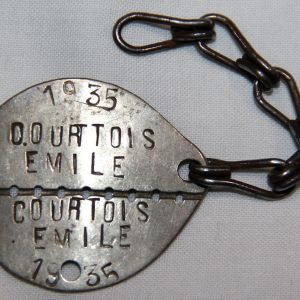 H032. PRE WWII FRENCH IDENTIFICATION, DOG TAG