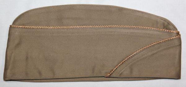 C016. WWII QUARTERMASTER PIPED OVERSEAS, GARRISON CAP