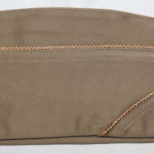 C016. WWII QUARTERMASTER PIPED OVERSEAS, GARRISON CAP