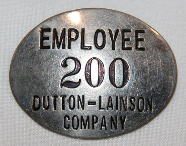 I019. WWII HOME FRONT DUTTON-LAINSON CO EMPLOYEE WORK BADGE