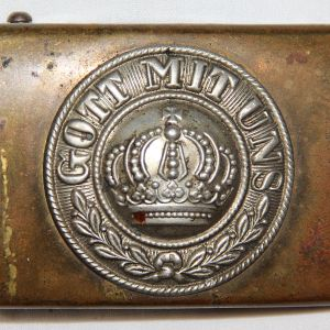 B054. WWI PRUSSIAN COMBAT BELT BUCKLE W/ NAME OF SOLDIER THAT BROUGHT IT HOME