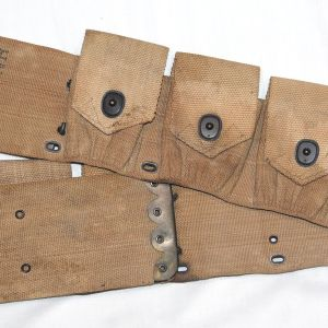 B055. WWI 9 POCKET AMMO, CARTRIDGE BELT, 1918 DATED