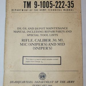 T042. VIETNAM 1966 DATED M1 GARAND, M1C SNIPER & M1D SNIPER RIFLE MANUAL