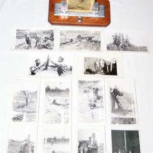 J024. WWII ANTI AIRCRAFT, COAST ARTILLERY PICTURE FRAME & 14 PHOTOS