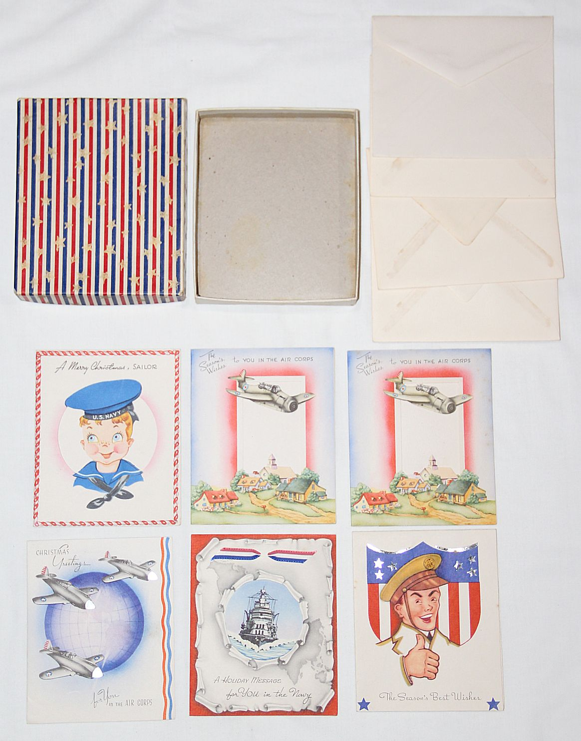 I023. WWII HOME FRONT BOX OF 6 UNUSED MILITARY THEMED CHRISTMAS ...