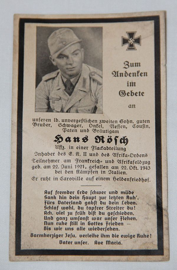 R022. WWII GERMAN REMEMBRANCE CARD FOR HERR SOLDIER KILLED IN ITALY