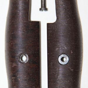 F013. EARLY WWII BROWN PLASTIC BAYONET GRIPS, ONE WITH BLACK SPECKS
