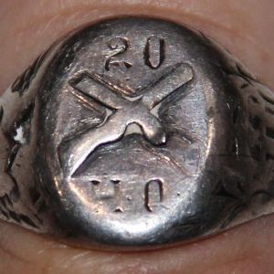 A015. NAMED PHILIPPINE INSURRECTION 20TH INFANTRY HQ STERLING RING
